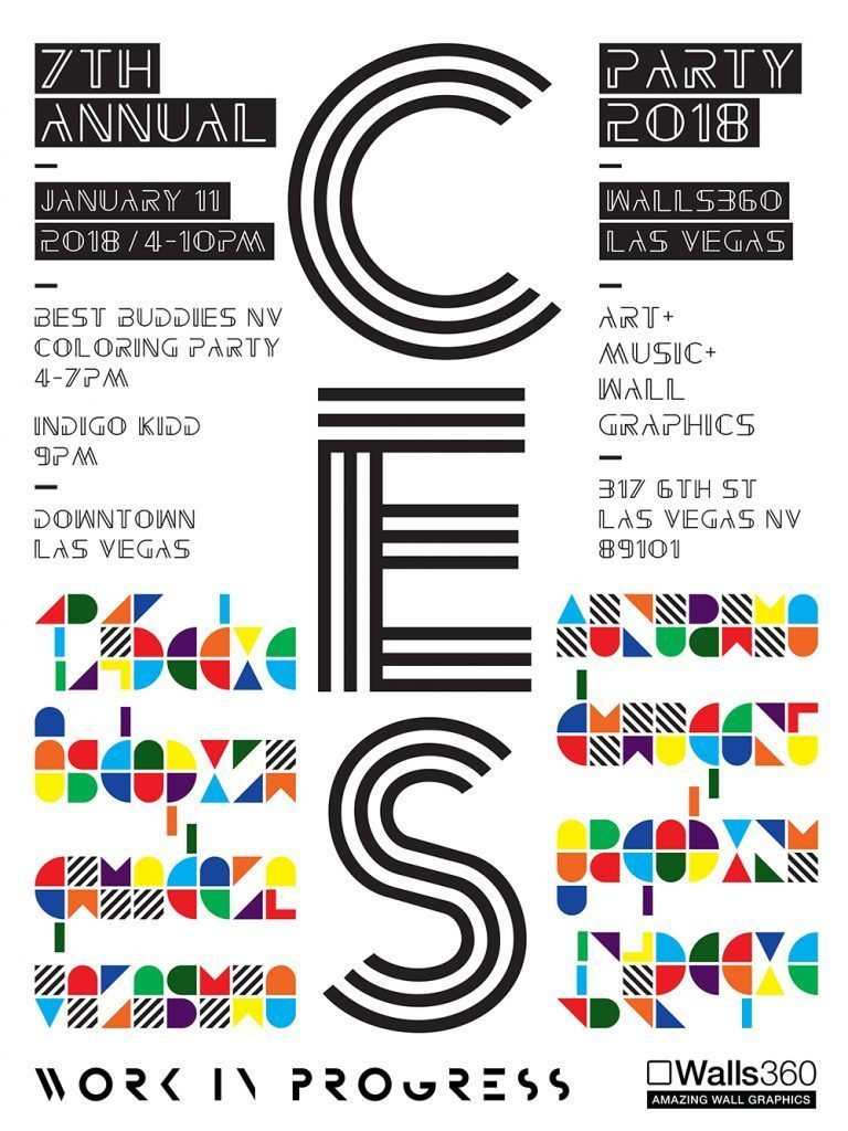 walls360 ces party event flyer